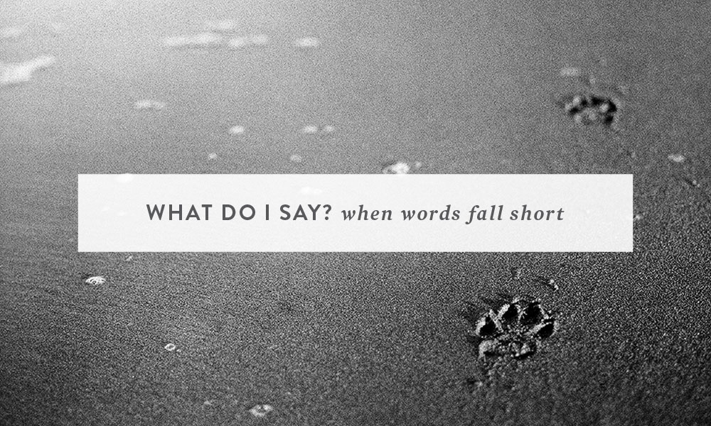 """What do I say?"" ~ When words fall short."